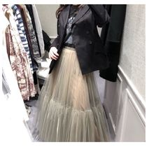 Casual Style Pleated Skirts Plain Long Party Style