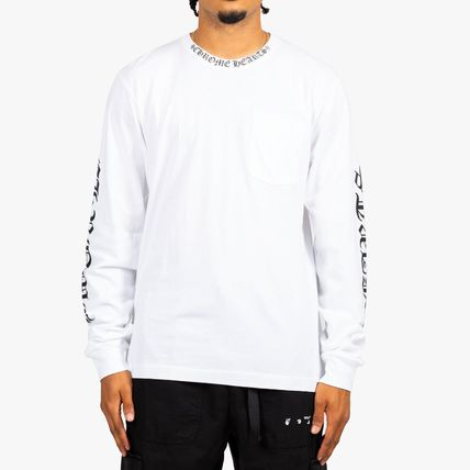 CHROME HEARTS Crew Neck Pullovers Unisex Street Style Long Sleeves Cotton