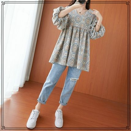 Bi-color Long Puff Sleeves Tunics