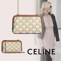 CELINE Triomphe Canvas Monogram Casual Style Calfskin Canvas Blended Fabrics 2WAY