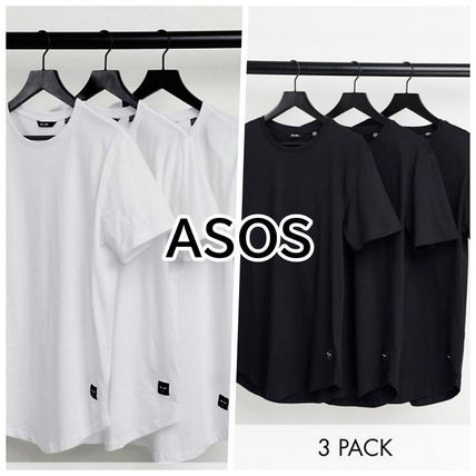 ASOS Crew Neck Only & Sons 3 Pack Longline Curved Hem T-Shirt In White