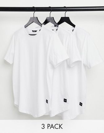 ASOS Crew Neck Only & Sons 3 Pack Longline Curved Hem T-Shirt In White 2