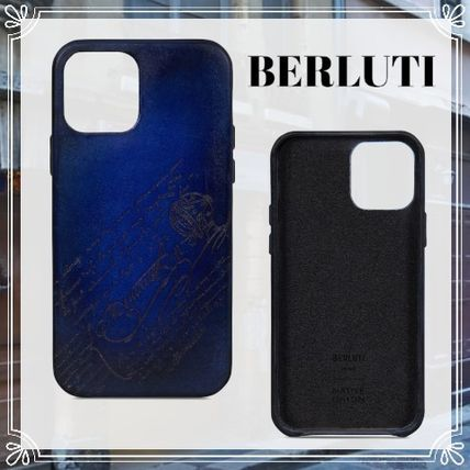 Berluti Blended Fabrics Street Style Leather Logo Smart Phone Cases