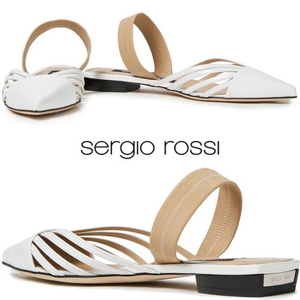 Sergio Rossi Casual Style Plain Leather Elegant Style Logo