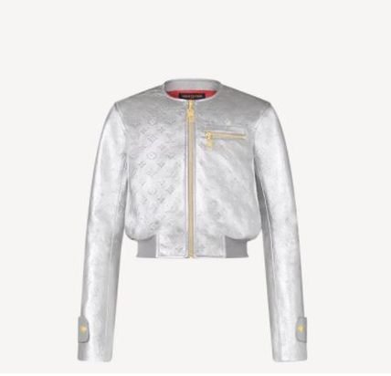 Louis Vuitton MONOGRAM Silver Leather Bomber Jacket