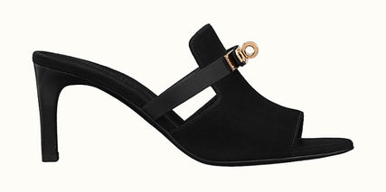 HERMES Suede Plain Leather Pin Heels Party Style Elegant Style