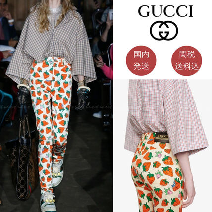 GUCCI Logo Tropical Patterns Casual Style Skinny Pants