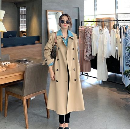 Stand Collar Coats Casual Style Plain Long Midi Trench Coats
