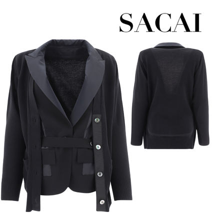 sacai Casual Style Wool Blended Fabrics Long Sleeves Plain Cotton
