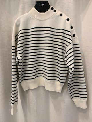 CELINE Stripes Casual Style Long Sleeves Medium High-Neck