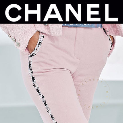 CHANEL ICON Short Casual Style Street Style Plain Cotton Handmade