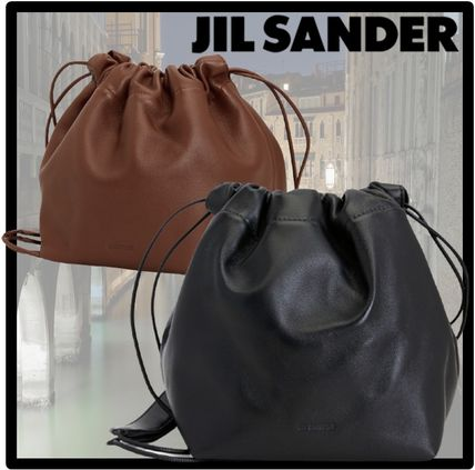 Jil Sander Casual Style Street Style Logo Shoulder Bags