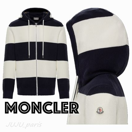 MONCLER Cardigans Stripes Cotton Logos on the Sleeves Cardigans