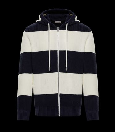 MONCLER Stripes Cotton Logos on the Sleeves Cardigans