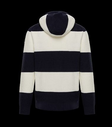 MONCLER Cardigans Stripes Cotton Logos on the Sleeves Cardigans 3