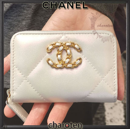 CHANEL ICON Calfskin Chain Plain Leather Long Wallet  Small Wallet Logo