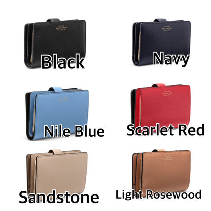 Plain Leather Logo Folding Wallets