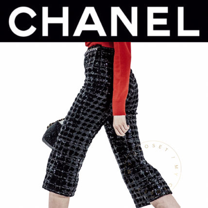 CHANEL ICON Casual Style Tweed Street Style Plain Medium Handmade