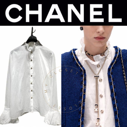 CHANEL ICON Casual Style Street Style Long Sleeves Plain Medium Handmade