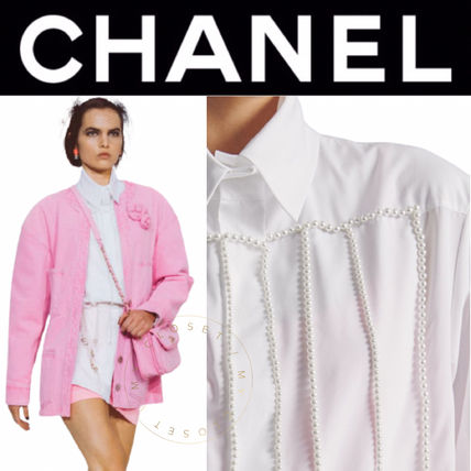 CHANEL ICON Blended Fabrics Street Style Long Sleeves Plain Cotton Long