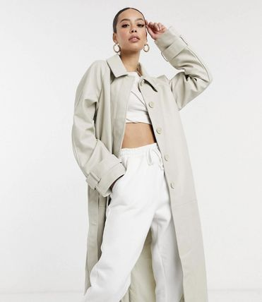 ASOS Asos Design Tall Collared Faux Leather Trench Coat In Putty