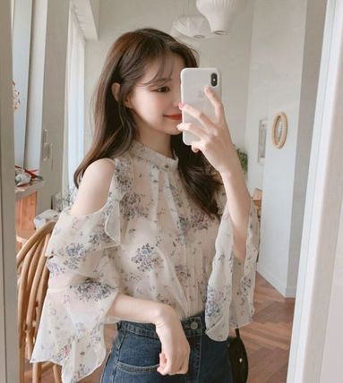 Flower Patterns Cropped Shirts & Blouses