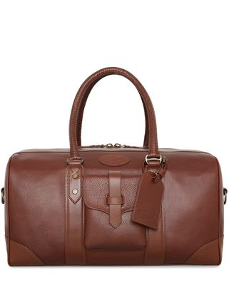 Unisex A4 Leather Logo Boston Bags