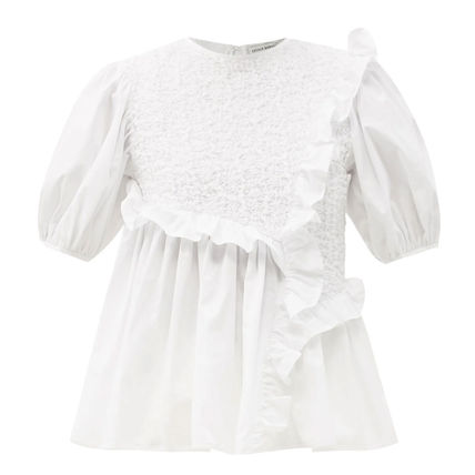 CECILIE BAHNSEN Crew Neck Cotton Short Sleeves Puff Sleeves Tunics