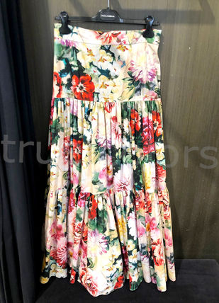 Dolce & Gabbana Flared Skirts Flower Patterns Casual Style Maxi Cotton Long