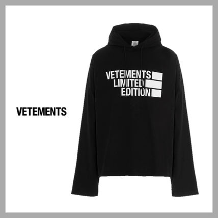 VETEMENTS Unisex Street Style Long Sleeves Plain Cotton Oversized Logo
