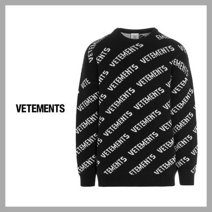 VETEMENTS Unisex Street Style Long Sleeves Logo Sweaters