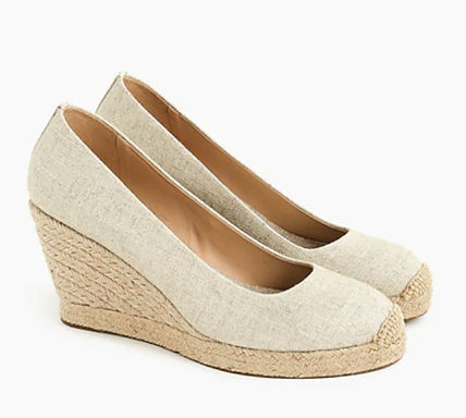 J Crew Platform Round Toe Casual Style Plain Leather Office Style