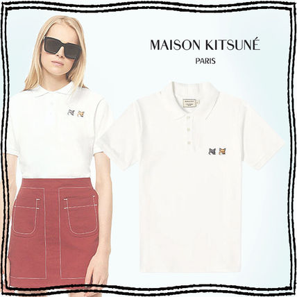 MAISON KITSUNE Casual Style Unisex Plain Cotton Short Sleeves Logo Polos