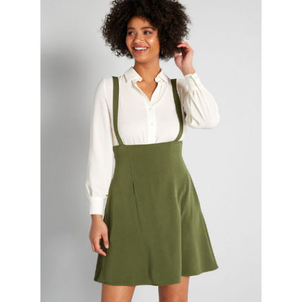 Short Casual Style A-line Blended Fabrics Flared Plain