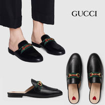 GUCCI Lace-up Casual Style Street Style Office Style Mules