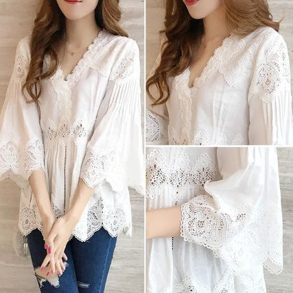 V-Neck Cropped Long Sleeves Plain Medium Long Lace