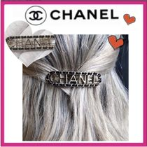 CHANEL ICON Costume Jewelry Barettes Leather Party Style Brass