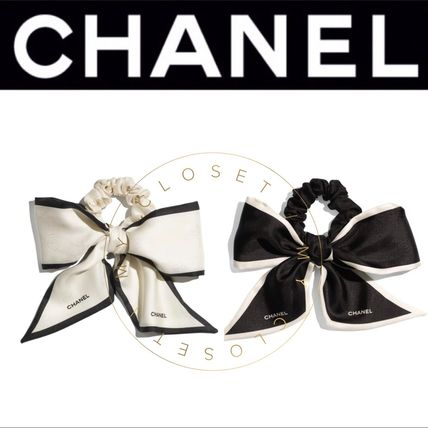 CHANEL ICON Scrunchy Casual Style Blended Fabrics Street Style Handmade
