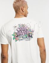 Quik Silver Crew Neck Pullovers Unisex Street Style Cotton Short Sleeves