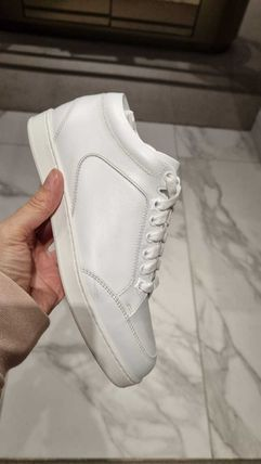 Jimmy Choo Round Toe Casual Style Plain Leather Logo Low-Top Sneakers