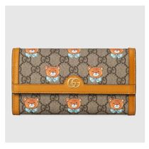 GUCCI Leather Logo Long Wallets