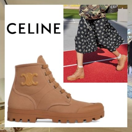 CELINE Patapans Lace Up Boot In Canvas