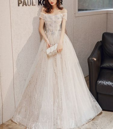 Blended Fabrics Long Bridal Wedding Dresses