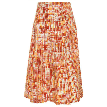 Max&Co. Flared Skirts Casual Style Plain Cotton Medium Party Style