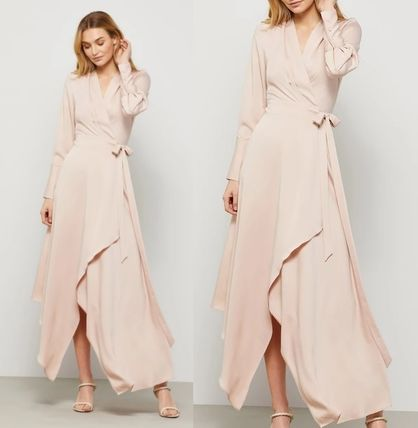 Formal Style  Wrap Dresses Casual Style Maxi V-Neck