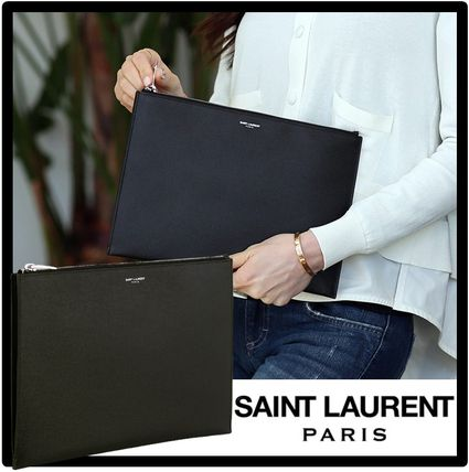 Saint Laurent Unisex Street Style Leather Logo Clutches