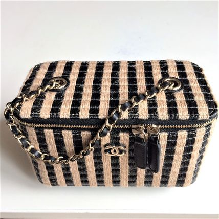 CHANEL Stripes Casual Style Blended Fabrics Vanity Bags 2WAY Chain