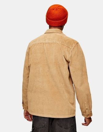 Corduroy Street Style Long Sleeves Plain Cotton Shirts
