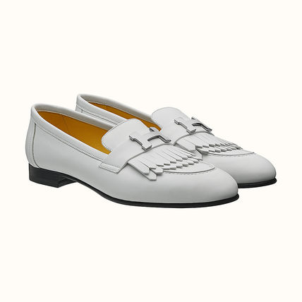 HERMES Plain Toe Casual Style Plain Leather Block Heels Fringes