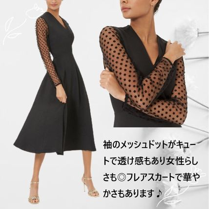 Dots Casual Style A-line Blended Fabrics Flared V-Neck